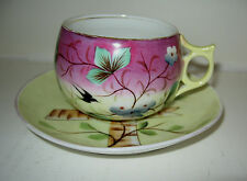 Hand Painted Porcelain Cup & Saucer Set Artist Signed Birds Flowers