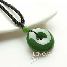 Natural chinese black green Jadeite jade Lucky pendant necklace hand-carved 100%