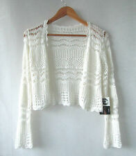 Crochet Shrug sz S 8 Cream Lace Top - Buy Any 5 Items = Free Post