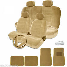 FOR TOYOTA NEW SEMI CUSTOM TAN VELOUR CAR SEAT STEERING WHEEL COVER MAT FULL SET
