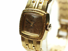 Auth RADO Jade Vintage Gold Plated Hand-Winding Ladies Watch 305.7903.2