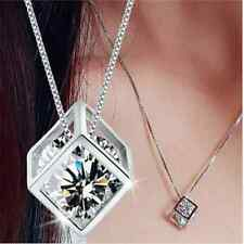 Women Elegant Special Cool Magic Cube Silver Crystal Chain Gift Pendant Necklace
