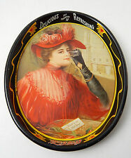 "1987 Coca Cola Tray REPRO 1903 ""CALENDAR LADY"" Coke, Tin, Metal, Oval, VG"