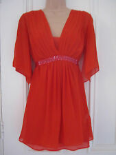 Stunning Monsoon size 8 sheer beaded silk orange top with undervest