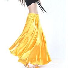 Hot! Shining Satin Long Skirt Swing Skirt Belly Dance Costumes Skirt 14 Colors