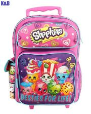 "2016  Shopkins 16"" GIRLS KIDS LARGE ROLLING BACKPACK SCHOOL ROLLER BACKPACK"