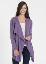 WoolOvers Cashmere Merino Long Sleeve Waterfall Cardigan Lavender Size L Purple