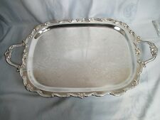 FB Rogers Silver Co. 1883 Ornate Footed Silver Plate Butler Tray w/Handles 25""