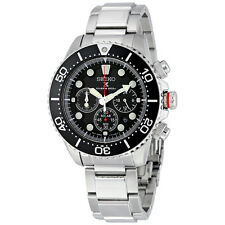 Seiko Prospex Solar Diver Black Dial Chronograph GMT Mens Watch SSC015
