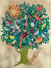 EMBROIDERED BIRDS NESTED IN TREE OF LIFE & SUNSHINE APPLIQUE - FOLK ART - RARE