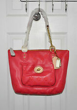 Coach Poppy Eyelet Small Tote Leather Chain Shoulder Bag Watermelon 23842