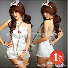 Woman Sexy Sheer White Lace Nurse Apron Costume Dress Cosplay Sleepwear