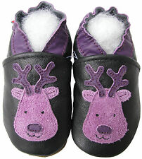 carozoo reindeer black 12-18m new soft sole leather baby shoes