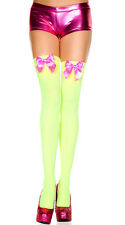 Opaque Thigh Highs Stockings Satin Bow Halloween Costume Bridal Wedding Lolita