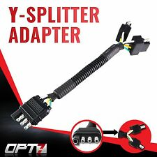 OPT7 Y-Splitter to 4 Way Adapter Tow Hitch Flat Trailer Plug Connector Tailgate