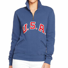 [48 36] Polo Ralph Lauren Womens Brigham Blue Team USA Half Zip Sweater Medium M