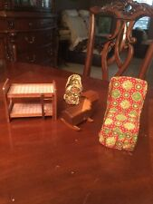 Vintage Child Doll HOUSE CRADLE BUNK BED Wood TWO CHAIRS LOT Cool Stuff !