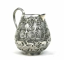 Antique Anglo Indian White Metal Silver ? Milk Cream Jug Animals Trees Fish