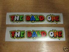"Valentino Rossi style text - ""THE BALD ONE""  x2 stickers / decals  - 5in x 1in"