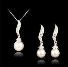 VALENTINES GIFT SWAROVSKI PEARL EARRINGS PENDENT NECKLACE ROSE GOLD PLATED SET