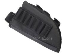 Airsoft Rifle Stock Ammo Pouch with Cheek Leather Pad for Left Hand Black