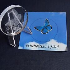 Glasmünze Kongo 10 Francs 2004 Schmetterling Glas Gedenkmünze + Zfk