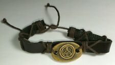 NEW A WORLD OF GOODS PEACE SIGN STONE BROWN HEMP ADJUSTABLE SIZE BRACELET