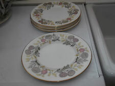 SIX WEDGWOOD SALAD PLATES IN LICHFIELD PATTERN  A FLORAL PATTERN ?1950s / 60s