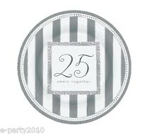 25th WEDDING ANNIVERSARY Silver Wishes LARGE PAPER PLATES (8) ~ Party Supplies