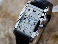 Cartier Tank Americaine Chronograph 18K White Gold Swiss Made Mens Watch 2312 S2