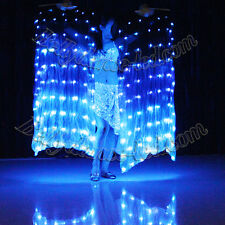 USA!1 pair or 1pc 80 LEDs silk fan veil belly dance glow light show blue leds