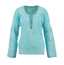 MELISSA ODABASH Cora Embroidered Artisan Sky Blue Top BNWT