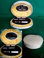 vintage LADIES dressing table MANICURE SET in OVAL SHAPED hinged BOX (G)