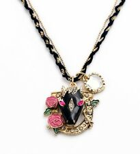 N877 BETSEY JOHNSON Trojan Horse Fairy Tales Magic Unicorn Flower Necklace US