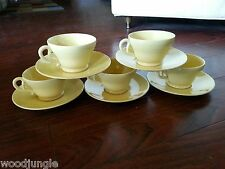 10 PC PALE YELLOW EL PATIO CUPS SAUCERS GLADDING McBEAN FRANCISCAN ART DECO