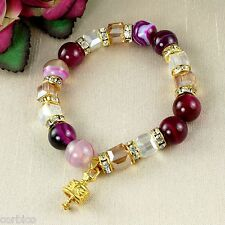B4 Pink Agate, Glass and Crystal Stretch Bell Charm Bracelet - Gift Pouch