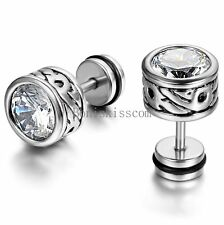 2pcs Silver Stainless Steel Round Totem Cubic Zirconia Stud Mens Ladies Earrings