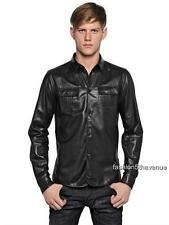 Dsquared2 Black Leather Shirt Jacket IT48 RRP1199GBP  Dsquared
