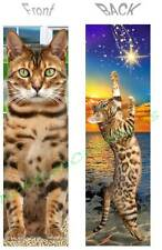 BENGAL CAT BOOKMARK Asian Leopard ART Wish on Star Figurine Tabby Book Mark Card