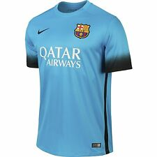 Nike 2015-16 Dri-Fit Barcelona 3rd Home Soccer Jersey Light Current Blue FCB