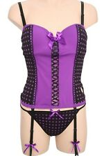 Black Purple Polka Dot Cut Out Heart Bustier Corset 36C Large Set New