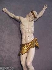 Porcellana Capodimonte Grande CRISTO MERAVIGLIOSO Biscuit Lucido con Manto Oro