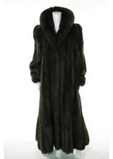 DESIGNER Brown Genuine Sable Fur Long Sleeve Full Length Coat Sz 10