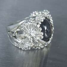 11cts Natural Black ray star sapphire 925 Silver floral ring 7 or N1/2 or resize