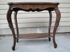 VINTAGE WOOD SMALL CONSOLE SIDE TABLE CURVY LEGS CARVED DETAILS LOWER SHELF