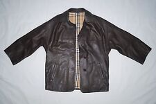 GENUINE VINTAGE BURBERRYS LADIES LEATHER BROWN JACKET SIZE 10 VERY GOOD CON