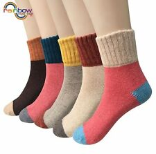 5 Pairs Lot Wool Cashmere Women Thick Warm Dress Casual Solid Socks Winter