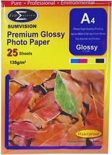 A4 Premium Brillante Sumvision De Inyección De Tinta Deskjet Papel Fotográfico De 135gsm 25 Hojas Paquete De 1