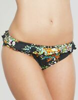 Pureda Milly Classic Bikini Brief with Frill Black Floral Various Sizes NEW