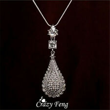 18K White Gold plated Rhinestones Crystal Water droplets pendant Necklace